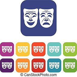Happy and sad mask icons set vector illustration in flat...