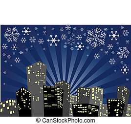 Silhouette of the christmas city - Silhouette of the city in...