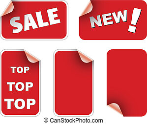 Labels badges and stickers - Red labels badges and stickers...