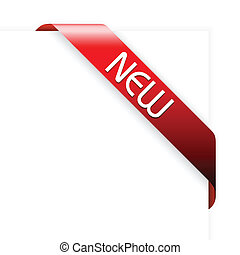 New red corner ribbon on a white background