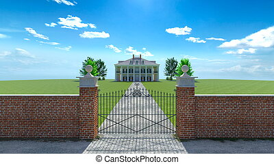 Mansion - 3D CG rendering of the mansion.