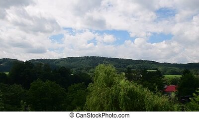 Pan view of European landscape in the summer time.