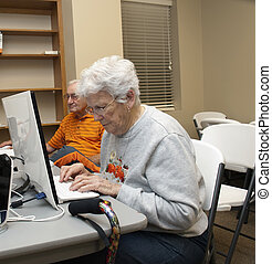 Working Hard on the Computer - Elderly woman working hard on...