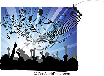 People at the concert - heads and hands on blue background