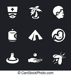 Vector Set of Zik virus Icons. - Doctor, palm, african,...