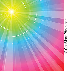 Sun in the rainbow - abstract background illustration