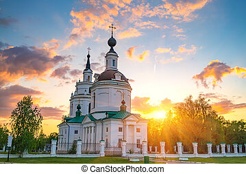 Orthodox church at sunset - Clouds over Russian orthodox...