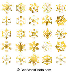 Golden snowflakes isolated on a white background