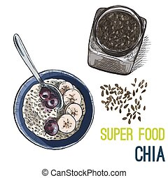Full color super food hand drawn sketch - Chia seeds. Full...