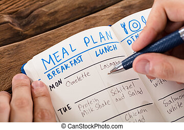 Human Hand Filling Meal Plan On Notebook