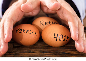 Person Protecting Egg Showing Pension And Retirement Text -...