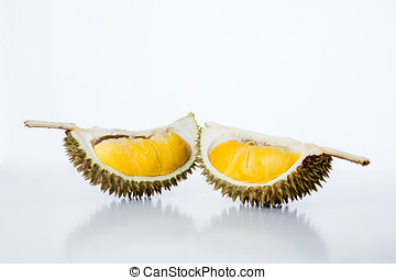 Malaysia fresh tropical durian fruit in isolated white...