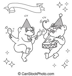 Two funny bears  in party hats. Black line on white.