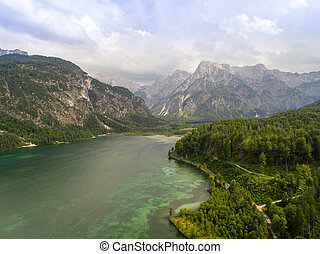 Aeria view, Almsee lake in the austrian alps, mountain in...