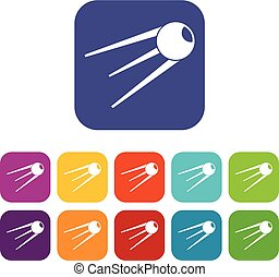 Sputnik icons set vector illustration in flat style in...
