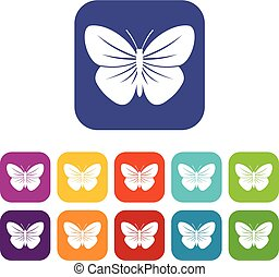 Black butterfly icons set vector illustration in flat style...