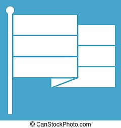 Black flag icon white isolated on blue background vector...
