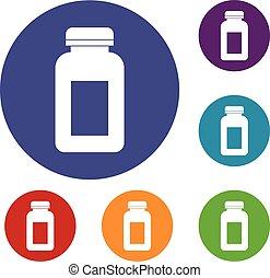 Medicine jar icons set