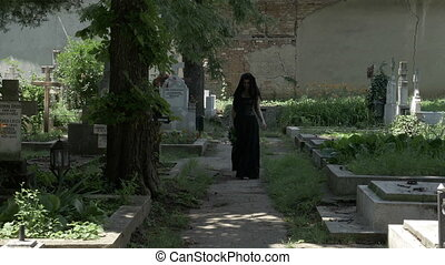 Grieved widow filled with sorrow leaving from departed...