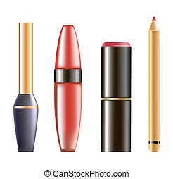 Makeup cosmetics in glossy bottles isolated illustration set...