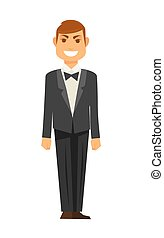 Elegant man in tuxedo with bowtie isolated illustration