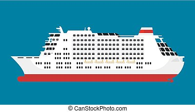 Big spacious white cruise liner isolated cartoon...