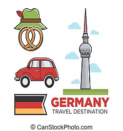 Germany travel destination promo banner with flag and...