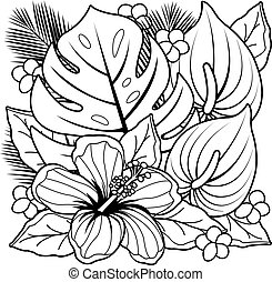 Tropical plants and hibiscus flowers. Black and white coloring book page.