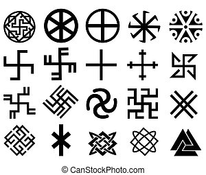 Different Slavic symbols of black color on a white...