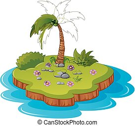 Illustration of a tropical island - Vector illustration of a...
