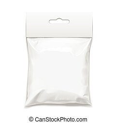 White realistic Polyethylene bag with Hang Slot.