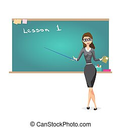 Young female teacher on lesson at blackboard in classroom....