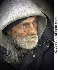 Pensive Portrait-Homeless Man - Pensive Portrait of Mature...