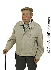 Senior with walking stick - An elderly man walking stick...