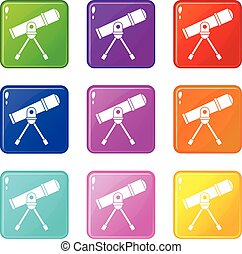 Space telescope set 9 - Space telescope icons of 9 color set...