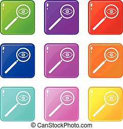 Magnifying glass set 9 - Magnifying glass icons of 9 color...