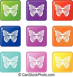 Stripped butterfly set 9 - Stripped butterfly icons of 9...