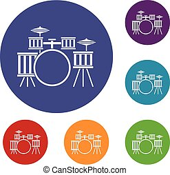 Drum kit icons set in flat circle red, blue and green color...