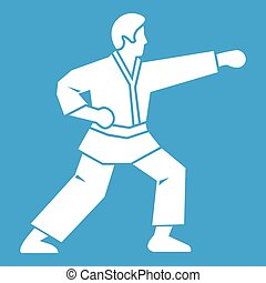 Aikido fighter icon white isolated on blue background vector...