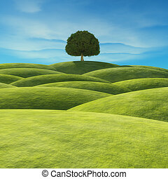 A tree with green leaves on the hill. This is a 3d render...