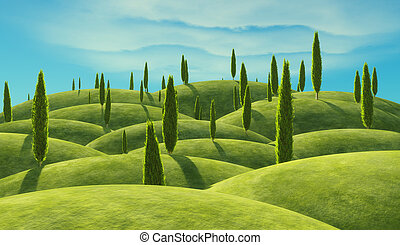 Green cypress trees on the hills. This is a 3d render...