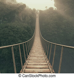 Rope bridge suspended between mountains. This is a 3d render...