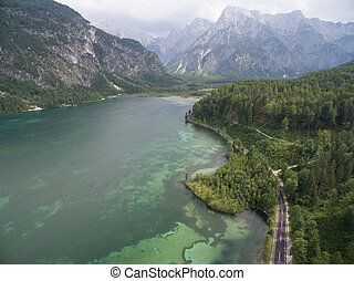 Aerial view, Almsee lake in the austrian alps, mountain in...