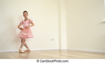 Ballerina Doing Workout - Young Ballerina In Pink Dress...
