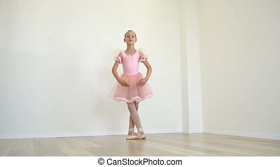 Ballerina In Pink Dress Dances - Young Ballerina In Pink...