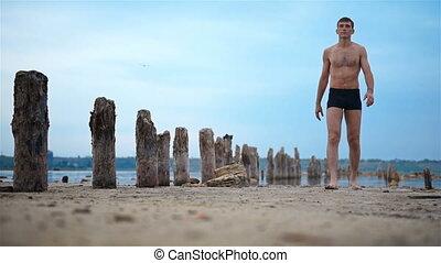 Yogi Man Walking On Old Beach. - Yogi Man Walking On Old...