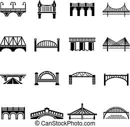 Bridge icons set, simple style - Bridge icons set. Simple...