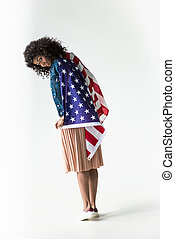woman cowered with american flag - Cute african american...