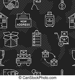 Line art icon seamless pattern for Moving. Thin line art...