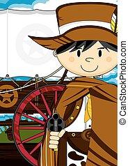 Cute Cartoon Wild West Cowboy - Cute Wild West Cowboy...